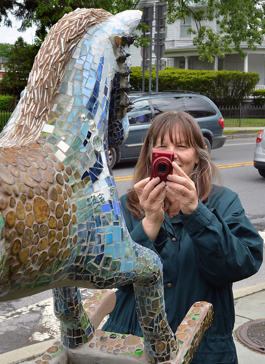 "Ginny Christensen of Saugerties, viewing, ""The Keltic"" by artist, Georgette Eagleson, one of the 35 Artist painted Rocking Horses on display around Saugerties, NY as part of the Chamber of Commerce sponsored Art in the Village Project titled ""Rockin' Around Saugerties."" This photo taken on Friday, May 26, 2017. Photo by Jim Peppler. Copyright/Jim Peppler-2017."