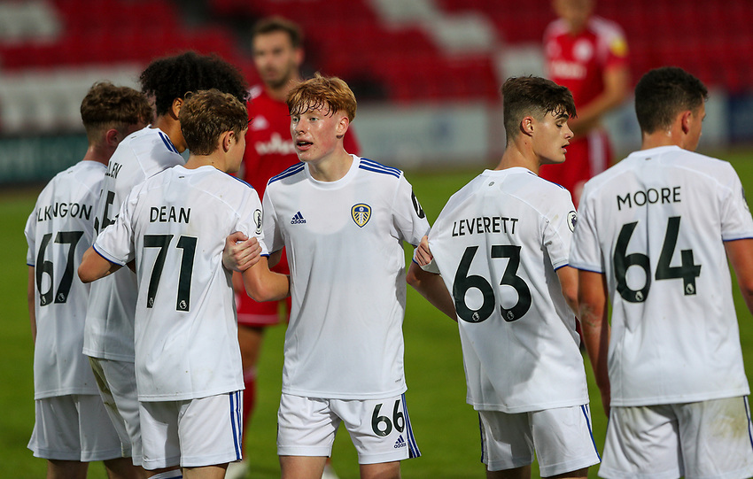 Leeds United U21's Owen Bray lines up a wall<br /> <br /> Photographer Alex Dodd/CameraSport<br /> <br /> EFL Trophy Northern Section Group G - Accrington Stanley v Leeds United U21 - Tuesday 8th September 2020 - Crown Ground - Accrington<br />  <br /> World Copyright © 2020 CameraSport. All rights reserved. 43 Linden Ave. Countesthorpe. Leicester. England. LE8 5PG - Tel: +44 (0) 116 277 4147 - admin@camerasport.com - www.camerasport.com