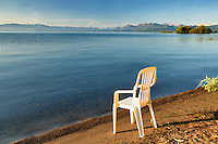 Chair on beach of Lake Tahoe. California