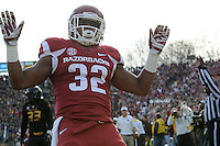 NWA Media/Michael Woods --11/28/2014-- w @NWAMICHAELW...University of Arkansas running back Jonathan Williams celebrates afar scoring a touchdown in the 1st quarter of Friday afternoons game against Missouri at Faurot Field in Columbia Missouri.