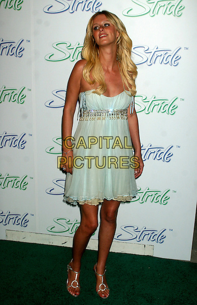 "NICKY HILTON.Arrivals at the launch of ""Stride"", the new long lasting gum from Cadbury Adams, at The Waterfront, New York, NY, USA..June 21st, 2006.Ref: IW.full length  dress Nikki Nicki blue jewel encrusted.www.capitalpictures.com.sales@capitalpictures.com.©Capital Pictures"
