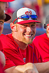 5 March 2015: Washington Nationals pitcher Stephen Strasburg smiles from the dugout prior to a Spring Training game against the New York Mets at Space Coast Stadium in Viera, Florida. The Nationals rallied to defeat the Mets 5-4 in their Grapefruit League home opening game. Mandatory Credit: Ed Wolfstein Photo *** RAW (NEF) Image File Available ***