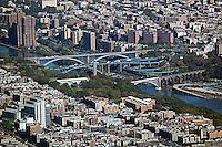 aerial photograph Harlem river bridges, Manhattan, Bronx, New York City