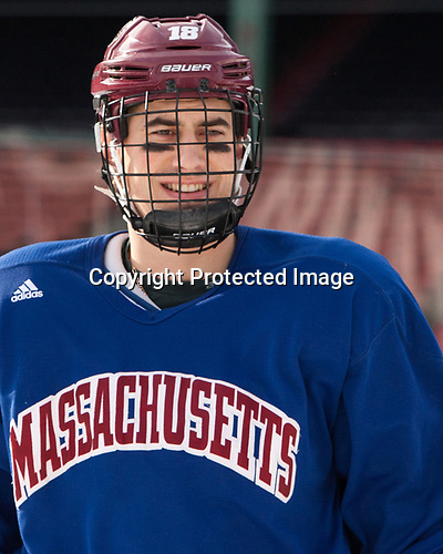 Brennan Baxandall (UMass - 18) - The UMass Minutemen practiced at Fenway Park on Friday, January 6, 2017, in Boston, Massachusetts.