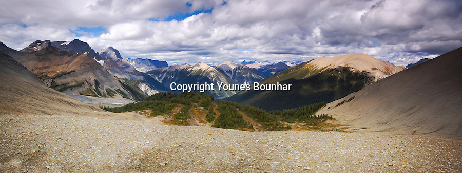 Panoramic view from the top of Numa Pass overlooking the valley of ten peaks