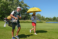 Inbee Park (KOR) heads down 17 under the shade of an umbrella during round 2 of the 2018 KPMG Women's PGA Championship, Kemper Lakes Golf Club, at Kildeer, Illinois, USA. 6/29/2018.<br /> Picture: Golffile | Ken Murray<br /> <br /> All photo usage must carry mandatory copyright credit (&copy; Golffile | Ken Murray)
