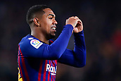 6th February 2019, Camp Nou, Barcelona, Spain; Copa del Rey football semi final, 1st leg, Barcelona versus Real Madrid; Malcom of FC Barcelona celebrates scoring their opening goal in the 55th minute for 1-1