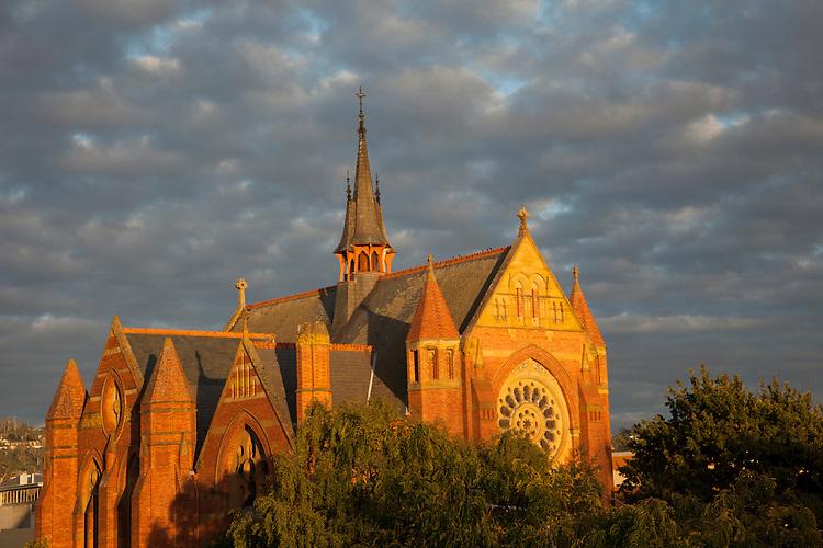 Sunset lights up the historic church in downtown Launceston, Tasmania