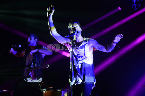 FORT LAUDERDALE FL - OCTOBER 23 : James Adam and Zac Barnett of American Authors perform at Revolution on October 23, 2014 in Fort Lauderdale, Florida. . Credit: mpi04/MediaPunch