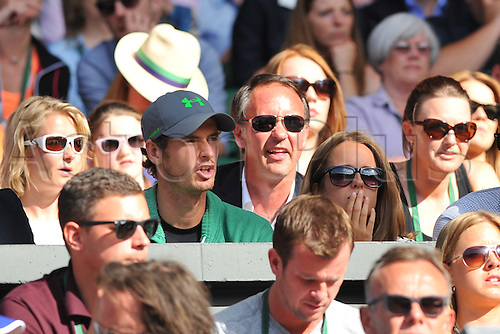 11.07.2015. Wimbledon, England. The Wimbledon Tennis Championships. Gentlemens Doubles Final between Jean-Julien Rojer (NED) and Horia Tecau (ROU) versus Jamie Murray (GBR) and John Peers (AUS). Andy Murray in the crowd to watch brother Jamie even though very nervous