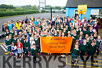 Aghatubrid NS raised their Amber Flag on Friday last promoting Positive Mental Health, pictured here pupils, parents and staff.