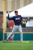 Toledo Mudhens third baseman JaCoby Jones (5) throws to first base during a game against the Rochester Red Wings on June 12, 2016 at Frontier Field in Rochester, New York.  Rochester defeated Toledo 9-7.  (Mike Janes/Four Seam Images)