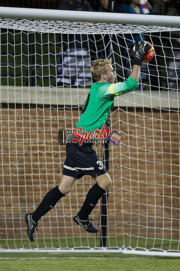 Grant Bishop (30) of the Wake Forest Demon Deacons makes a save during second half action against the Georgia State Panthers at Spry Soccer Stadium on October 20, 2015 in Winston-Salem, North Carolina.  The Demon Deacons defeated the Panthers 5-0.  (Brian Westerholt/Sports On Film)