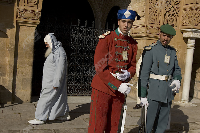 Security outside the Royal Palace in Rabat, Morocco.