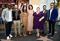 HOLLYWOOD, CA - MARCH 25: (L-R) Sterling K. Brown, Milo Ventimiglia, Susan Kelechi Watson, Mandy Moore, Chrissy Metz, Jon Huertas, and Justin Hartley at the Mandy Moore star ceremony on the Hollywood Walk of Fame on March 25, 2019 in Hollywood, California. (Photo by Frank Micelotta/20th Century Fox Television/PictureGroup)