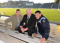 Kerry County Board Treasurer Weeshie Lynch and vice chairman Ger Galvin  pictured with Former Garda Chief Superintendent and head of  the Garda  Murder Squad John Courtney pictured at a Kerry football training session in Fitzgerald Stadium, Killarney. A native of Annascaul, Co. Kerry, John Courtney won an All Ireland minor title with Kerry in 1946 and is still an avid Kerry football fan despite living in Dublin since 1960. Picture: Eamonn Keogh (MacMonagle, Killarney)
