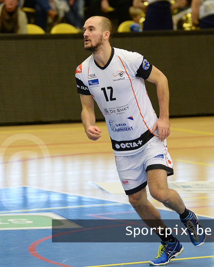 20161228 - ROESELARE ,  BELGIUM : Aalst's Philipp Kroiss pictured during the second semi final in the Belgian Volley Cup between Knack Volley Roeselare and Lindemans Aalst in Roeselare , Belgium , Wednesday 28 th December 2016 . PHOTO SPORTPIX.BE | DAVID CATRY