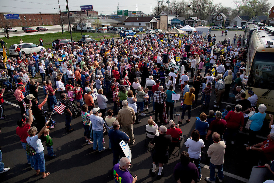 "Evansville, Indiana, April 5, 2010 - About 300 Tea Party supporters gathered during a Tea Party Express rally, the eighteenth stop in a 43-city tour across the country, which will conclude with a large rally in Washington, D.C. on April 15, Tax Day. The Tea Party Express tour titled ""Just Vote Them Out"" is taking an aggressive approach by targeting Democratic incumbents competitive districts, as well as Republicans deemed not conservative enough who are facing primary challenges from more conservative candidates. While not endorsing any candidates so far, the Tea Party Express does not hide its desire to replace incumbents with new conservatives that more closely hew to its goals of smaller government and less taxes...."