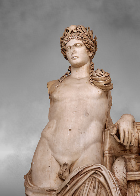 Detail of a second Century Roman statue of Apollo excavated from the Theatre of Carthage. The Bardo National Museum, Tunis, Tunisia. Inv No C939. Against a grey art background.