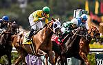 MAY 27: Flavien Prat celebrates winning the Gamely Stakes aboard Vasilika at Santa Anita Park in Arcadia, California on May 27, 2019. Evers/Eclipse Sportswire/CSM