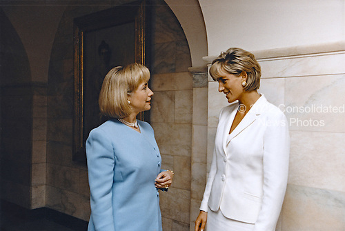 In this photo provided by the White House, First lady Hillary Rodham Clinton, left, meets with Princess Diana of the United Kingdom at the White House in Washington, D.C., Wednesday, June 18, 1997.  <br />