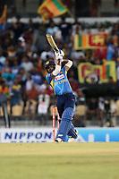 February 26th 2020, the Mahinda Rajapaksha International Stadium, Hambantota, Sri Lanka; One Day International cricket, Sri Lanka versus West Indies; Wanindu Hasaranga plays a shot down the wicket