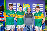 David Clifford, Sean O'Shea, Peter Keane and Gavin White  at the new Kerry shirt launch in the Kerry GAA shop on Friday