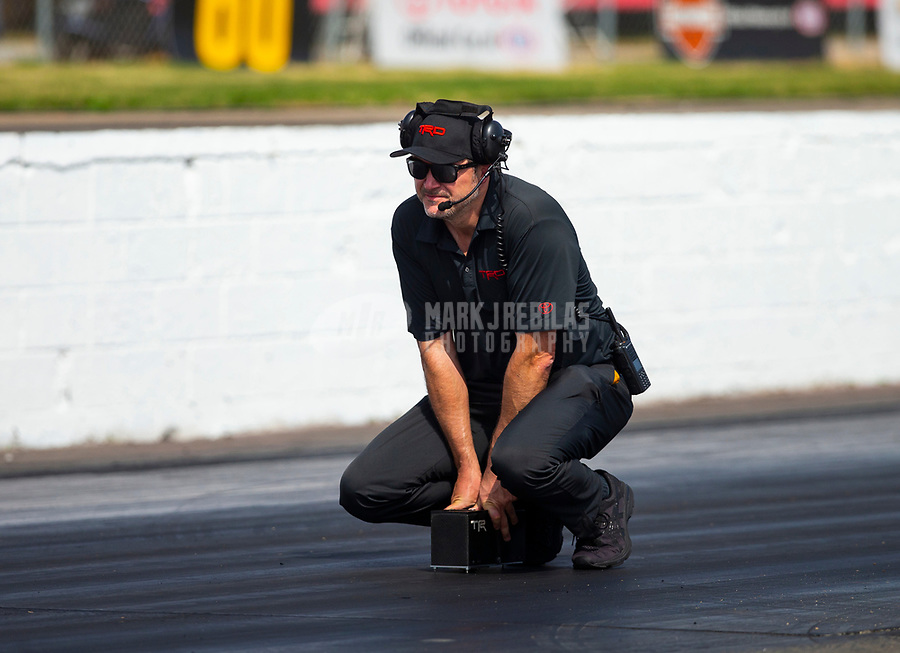 May 4, 2018; Commerce, GA, USA; NHRA track specialist for Toyota takes traction readings during qualifying for the Southern Nationals at Atlanta Dragway. Mandatory Credit: Mark J. Rebilas-USA TODAY Sports
