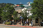 Summer street scene with pedestrians at intersection along Elkhorn Avenue in Estes Park, Colorado - a Rocky Mountain tourist destination