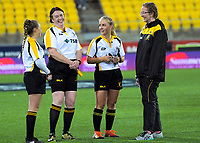 Match officials for the Wellington Rugby Rebecca Liua'ana Trophy women's rugby match between Oriental-Rongotai and Northern United at Westpac Stadium in Wellington, New Zealand on Friday, 17 May 2019. Photo: Dave Lintott / lintottphoto.co.nz