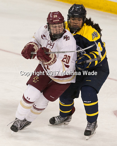 Ryan Little (BC - 20), Felila Manu (Merrimack - 4) - The number one seeded Boston College Eagles defeated the eight seeded Merrimack College Warriors 1-0 to sweep their Hockey East quarterfinal series on Friday, February 24, 2017, at Kelley Rink in Conte Forum in Chestnut Hill, Massachusetts.The number one seeded Boston College Eagles defeated the eight seeded Merrimack College Warriors 1-0 to sweep their Hockey East quarterfinal series on Friday, February 24, 2017, at Kelley Rink in Conte Forum in Chestnut Hill, Massachusetts.
