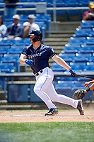 Binghamton Rumble Ponies third baseman Matt Oberste (18) follows through on a swing during a game against the Altoona Curve on June 14, 2018 at NYSEG Stadium in Binghamton, New York.  Altoona defeated Binghamton 9-2.  (Mike Janes/Four Seam Images)