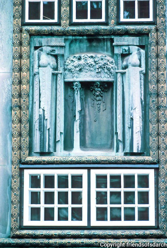 Josef Hoffman: Palais Stoclet, Brussels. Large staircase window by sculptor Emilie Schleiss Simandl. Photo '87.