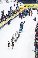 Musher Zack Steer at the start of the 1000 mile 2004 Yukon Quest in Fairbanks, Alaska