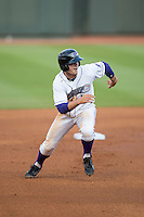 Adam Engel (7) of the Winston-Salem Dash takes off for third base during the game against the Potomac Nationals at BB&T Ballpark on April 30, 2015 in Winston-Salem, North Carolina.  The Nationals defeated the Dash 5-4..  (Brian Westerholt/Four Seam Images)