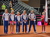 Februari 07, 2015, Apeldoorn, Omnisport, Fed Cup, Netherlands-Slovakia, Presentation , Slovakian team<br /> Photo: Tennisimages/Henk Koster