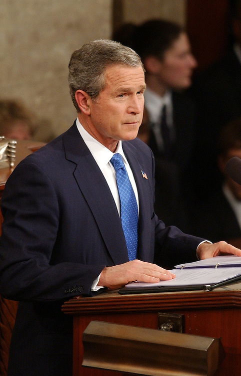 union50/012803 -- President George W. Bush, speaks to Congress at the State of the Union Address, Tuesday, Jan. 28, 2003.