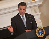 Nevada Governor Brian Sandoval speaks during the 2018 White House Business Session with  Governors, February 26, 2018, at The White House in Washington, DC. Photo by Chris Kleponis/ CNP