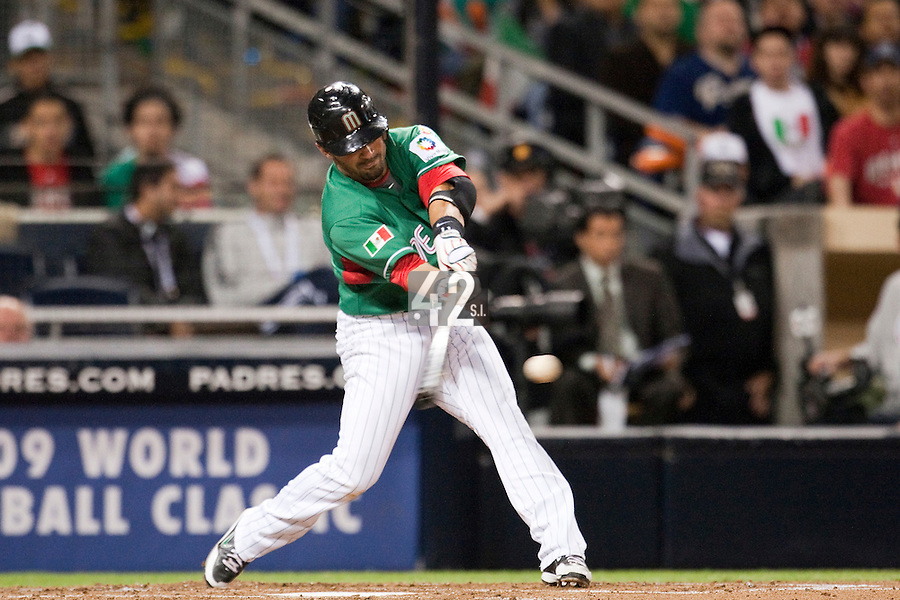 15 March 2009:  #1 Augie Ojeda of Mexico hits the ball during the 2009 World Baseball Classic Pool 1 game 2 at Petco Park in San Diego, California, USA. Korea wins 8-2 over Mexico.