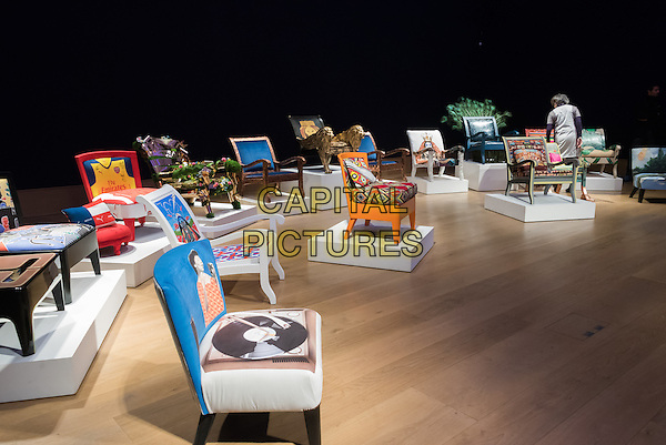 Photocall for Bonhams' auction in support of AIDS charity, CHIVA Africa, which includes hand painted and upholstered chairs made by 30 celebrities and artists. <br /> CAP/JOR<br /> &copy;JOR/Capital Pictures