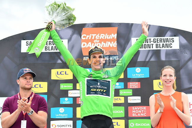 Daryl Impey (RSA) Mitchelton-Scott wins the points Green Jersey of the 2018 Criterium du Dauphine 2018 at the end of Stage 7 running 136km from Moutiers to Saint Gervais Mont Blanc, France. 10th June 2018.<br /> Picture: ASO/Alex Broadway | Cyclefile<br /> <br /> <br /> All photos usage must carry mandatory copyright credit (© Cyclefile | ASO/Alex Broadway)