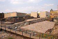 Ruins of the Aztec Templo Mayor or Great Temple in downtown Mexico City. This was one of the most important complexes in the ancient Aztec capital of Tenochititlan that was destroyed by the Spanish conquistadors in the early 16th century. The Museo Templo Mayor is in the background. This museum houses Aztec treasures unearthed at the archaeological site.