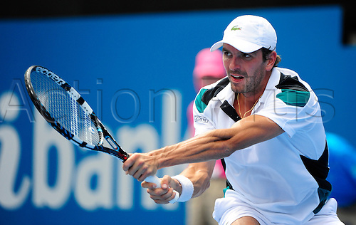 13.01.2012 Sydney, Australia. Benneteau in action during the men's Semi Final game. Marcos Baghdatis (CYP) V Julien Benneteau (FRA). Benneteau defeats Baghdatis 6-4 6-4 on centre court at the Australian Apia International