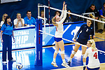 PENSACOLA, FL - DECEMBER 09: Brooklyn Lewis (3) of Concordia University, St. Paul spikes the ball past Nicole Mattson (9) of Florida Southern College during the Division II Women's Volleyball Championship held at UWF Field House on December 9, 2017 in Pensacola, Florida. (Photo by Timothy Nwachukwu/NCAA Photos via Getty Images)