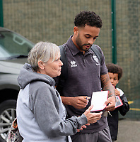 Lincoln City's Bruno Andrade signs autographs for fans as he arrives at the ground<br /> <br /> Photographer Chris Vaughan/CameraSport<br /> <br /> The Carabao Cup Second Round - Lincoln City v Everton - Wednesday 28th August 2019 - Sincil Bank - Lincoln<br />  <br /> World Copyright © 2019 CameraSport. All rights reserved. 43 Linden Ave. Countesthorpe. Leicester. England. LE8 5PG - Tel: +44 (0) 116 277 4147 - admin@camerasport.com - www.camerasport.com