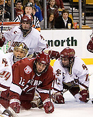 Matt Greene (Boston College - Plymouth, MA), Cory Schneider (Boston College - Marblehead, MA), Paul Dufault (Harvard University - Shrewsbury, MA) and Pat Gannon (Boston College - Arlington, MA) crowd the crease. The Boston College Eagles defeated the Harvard University Crimson 3-1 in the first round of the 2007 Beanpot Tournament on Monday, February 5, 2007, at the TD Banknorth Garden in Boston, Massachusetts.  The first Beanpot Tournament was played in December 1952 with the scheduling moved to the first two Mondays of February in its sixth year.  The tournament is played between Boston College, Boston University, Harvard University and Northeastern University with the first round matchups alternating each year.