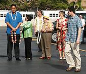Honolulu, HI - December 25, 2009 -- Honolulu Mayor Mufi Hannemann, United States Representative Mazie Hirono (Democrat of Hawaii), U.S. Representative Neil Abercrombie (Democrat of Hawaii), and Hawaii Governor Linda Lingle await the First Family before they disembark from Air Force One at Hickam Air Force Base on Thursday, December 24, 2009 in Honolulu, Hawaii..Credit: Kent Nishimura / Pool via CNP