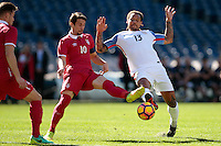 San Diego, CA - Sunday January 29, 2017: Aleksandar Palocevic, Jermaine Jones during an international friendly between the men's national teams of the United States (USA) and Serbia (SRB) at Qualcomm Stadium.