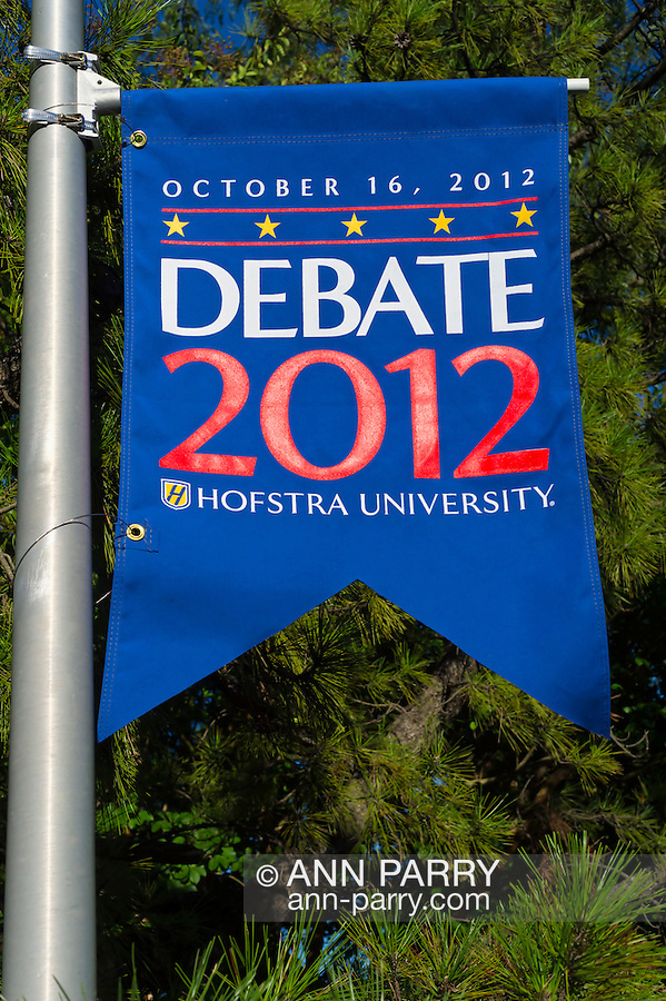 """Oct. 11, 2012 - Hempstead, New York, U.S. - ROBERT GIBBS, former White House Press Secretary and a longtime Advisor to Pres. Obama, and KARL ROVE, former Deputy Chief of Staff and Senior Advisor to Pres. G. W. Bush, have a Point/Counterpoint discussion at Hofstra University Debate 2012 event. This is part of """"Debate 2012 Pride Politics and Policy"""" a series of events leading up to when Hofstra hosts the 2nd Presidential Debate between Obama and M. Romney, on October 16, 2012, in a Town Meeting format."""
