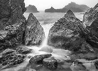 Cameo Shores Seascape Black and White Stock Photo